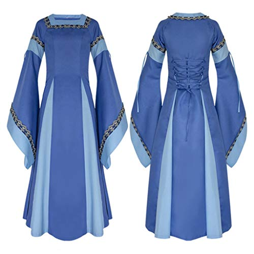 Clearance Renaissance Dress,Forthery Womens Medieval Dress Renaissance Costume Irish Over Long Dress Cosplay Retro Gown(Blue,XL)]()