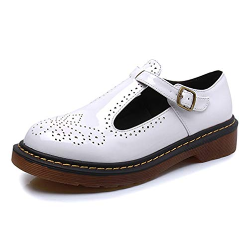 Women's Classic Buckle T-Strap Oxfords Breathable Patent Platform Brogue Mary Jane Shoes White
