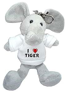 Elefante de peluche (llavero) con Amo Tiger en la camiseta (nombre de pila/apellido/apodo)