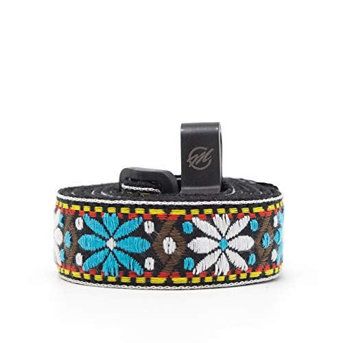 CLOUDMUSIC Colorful Hawaiian Jacquard Woven J Hook Clip On Ukulele Strap Ukulele Belt For Soprano Concert Tenor Ukulele (Blue White Flower)