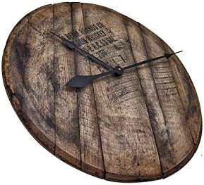 WhiskeyMade Authentic Reclaimed Bourbon Whiskey Barrel Head Clock