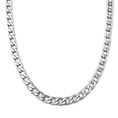 Monily 4-8.5MM 16-36 Inches Stainless Steel Curb Chain Necklace Mens Womens Necklace Jewelry