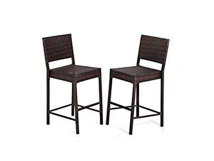 Amazon Com Bestmassage 2 Pcs Outdoor Wicker Barstool All Weather