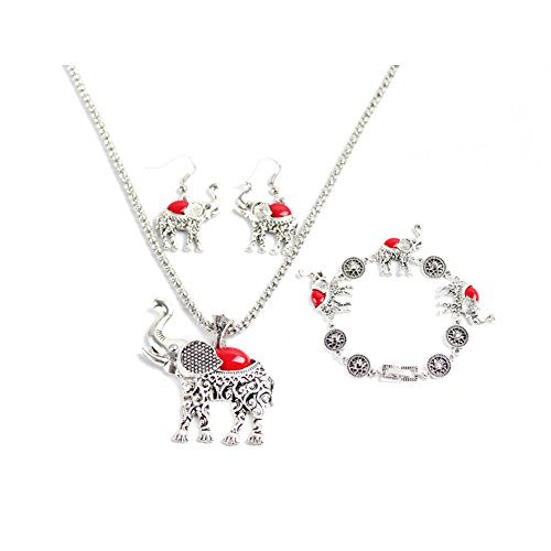 Miraculous Garden Womens Vintage Silver Ethnic Tribal Elephant Boho Pendant Necklace Drop Earrings Link Bracelet Jewelry Sets (Red) (Red Elephant Necklace compare prices)