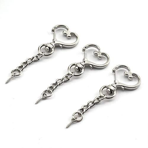 JCBIZ 20pcs Silver Heart Design Spring Snap Keychain Clip Zinc Alloy DIY Key Chains Accessories Creative Pentagram Hanging -