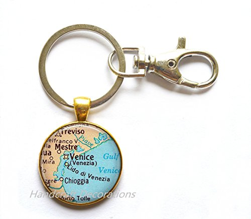Charming Keychain,Venice map Keychain, Venice Keychain, Venice map Key Ring, Venice Key Ring, map jewelry,A0268