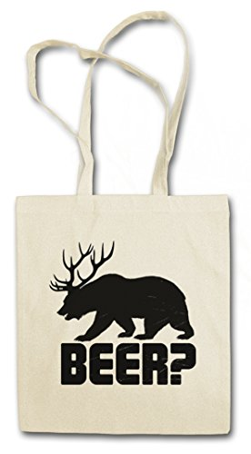 BEER? HIPSTER BAG – birra orso chevreuil Cacciatore caccia Corna cervo Deer Bear Fun Hunt Antlers Hunter Alcohol Drinking Sport Barstool Alkohol
