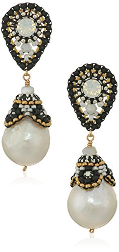 Miguel Ases Beaded Cap Freshwater Pearl Black and White Contrast Post Teardrop Earrings - Miguel Ases Beaded Earrings