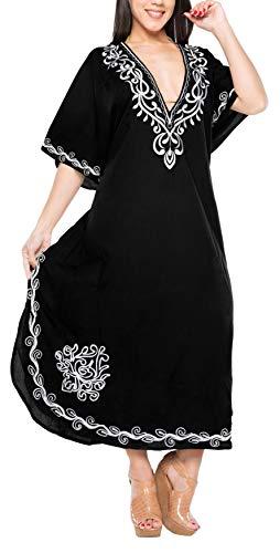 LA LEELA PV Solid Long Caftan Casual Dress Girls Black_923 OSFM 14-32W [L-5X] by LA LEELA