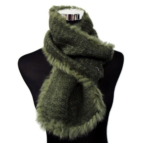 Angora Scarf - Bridal Wedding Dinner Party Angora Rabbit Fur Edged Wool Scarf Shawl Wrap - OLIVE