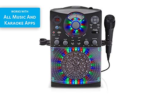 41HhKbTAVCL - Singing Machine SML385UBK Bluetooth Karaoke System with LED Disco Lights, CD+G, USB, and Microphone, Black