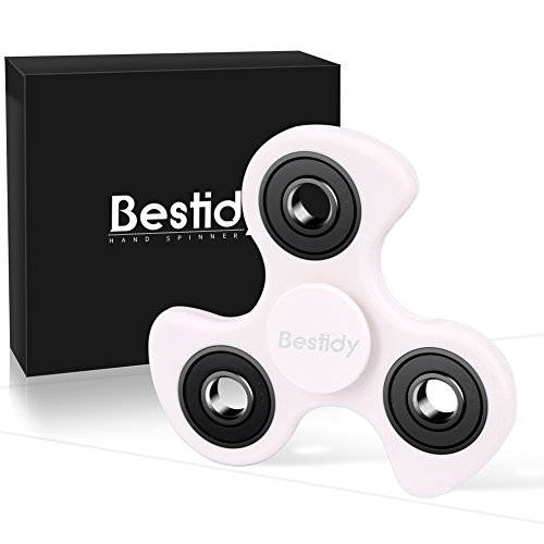 Bestidy Fidget Spinner Tri Focus Toy Stress Reducer High Speed Relieves ADHD Anxiety and Boredom (White)
