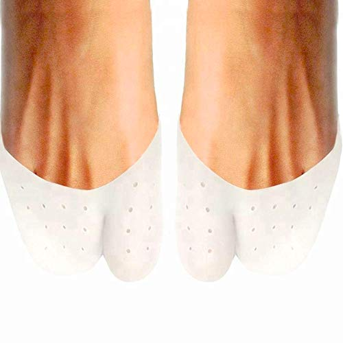 Pivit Toe Cap Socks | 2 Pack | Silicone Gel Toe Cover Protector Sleeve | Fits Men & Women | Big Toe Protection Cushion | Bandage Pad for Ball of Foot, Metatarsal, Ballet Pointe, Morton's Neuroma