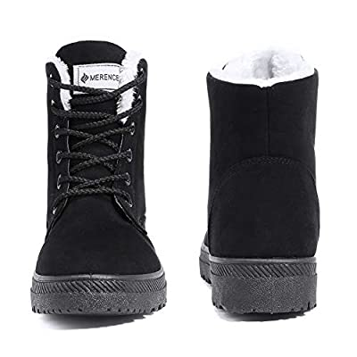 Women's Snow Boots Winter Suede Cotton Warm Fur Lined Ankle Boots Outdoor Anti-Slip Waterproof Booties Lace Up Platform Shoes Black | Snow Boots