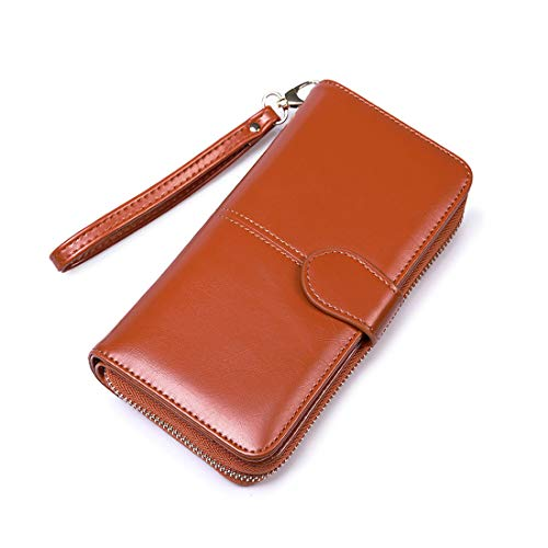 ladies Leather Wristlet organizer with phone slot large capacity (Brown4) ()