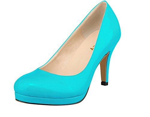 wealsex Vernis 5 40 Moyen Grande 41 Taille cm 42 OL Talon clair Classique bleu Confort Escarpins Femme BxrX5HqBw