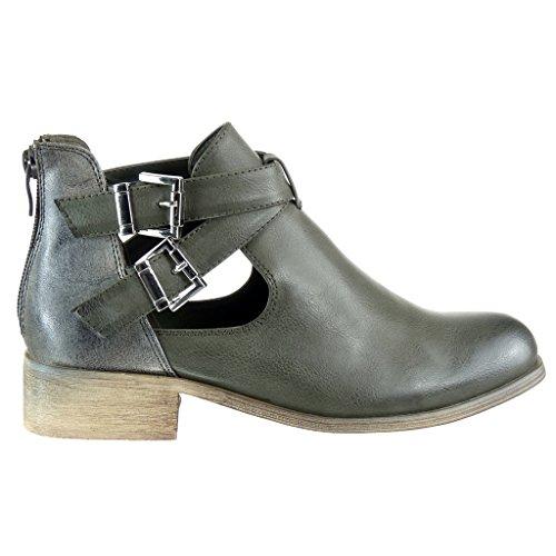 Angkorly - Zapatillas de Moda Botines chelsea boots cavalier stile vendimia mujer brillantes tanga Hebilla Talón Tacón ancho 3 CM - Verde