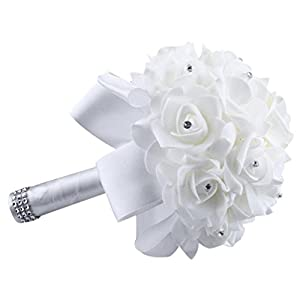 Creazy Crystal Roses Pearl Bridesmaid Wedding Bouquet Bridal Artificial Silk Flowers (White) 105