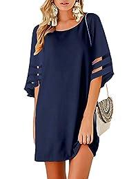 2a0a24ae907f Womens 3/4 Bell Sleeve Crewneck Mesh Panel Shift Dress Casual Loose Tunic  Dress