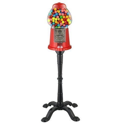 (Carousel King Gumball Machine Bank with Stand, 15 tall - Die cast Metal Glass Globe (15 w/ Stand, Red) Color: Red Size: 15 w/ Stand)