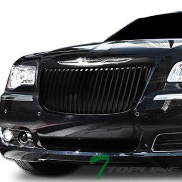 300c Vertical Billet Grille - Topline Autopart Matte Black RR Luxury Vertical Front Hood Bumper Grill Grille ABS For 11-14 Chrysler 300 / 300C