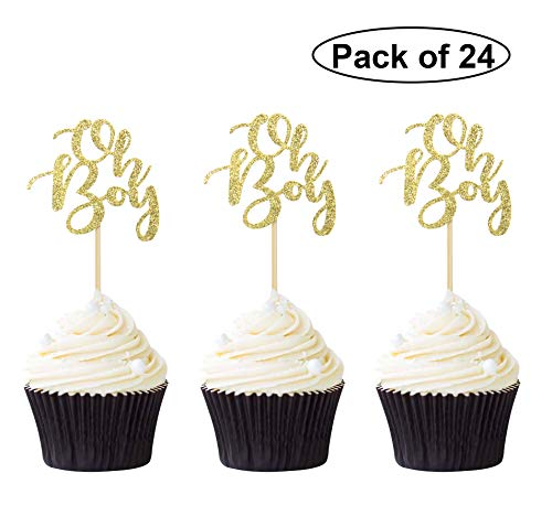 Pack of 24 Gold Oh Boy Cupcake Toppers Birthday Baby Shower Party Cake Picks