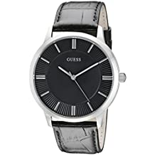 GUESS Men's U0664G1 Sleek Black Watch with Silver-Tone Case