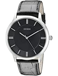 GUESS Mens U0664G1 Dressy Silver-Tone Watch with Plain Black Dial  and Genuine Leather Strap Buckle