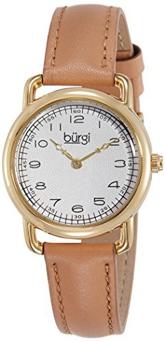 Burgi Women's BUR121TN Gold-Tone Watch with Genuine Leather Strap