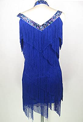 Whitewed Fringe Tassel Beaded V Neck 1920s Great Gatsby Flapper Costumes Dresses