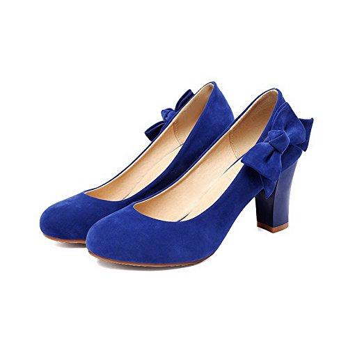 AllhqFashion Damen Mittler Absatz Rein Ziehen auf Mattglasbirne Rund Zehe Pumps Schuhe Blau