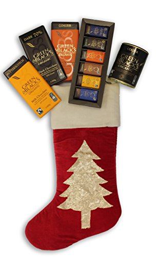 Green & Black's Chocolates in a Large Luxurious Hand Embroidered Velvet Christmas Stocking - 3x100g G&B's Organic bar, 1x180g G&B's Classic Collection, 1x125g G&B's Fairtrade Cocoa powder -  Green & Blacks