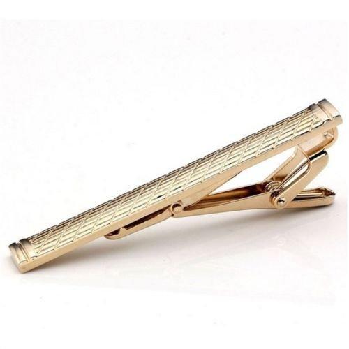 Alicenter(TM) Mens Classical Plain Golden Stainless Steel Standard Tie Clip Clasp Bars ()