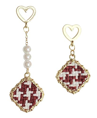 Sisfrog Heart Shaped Checked Pattern Drop Dangle Earrings, Royal Baroque Palace Style Antique Jewelry for Women Teens and Girls, Great Gift for Easter, Birthday, Casual Everyday Wear (Red)