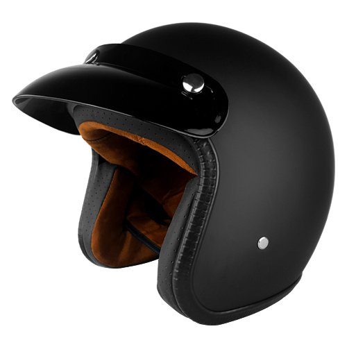 3/4 Open Face Shell Style DOT Approved Motorcycle Helmet With Sun Visor - Matte Black Helmet - X-Large