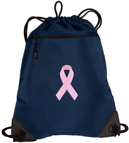 BROAD BAY Pink Ribbon Drawstring Backpack Pink Ribbon Cinch Bag - UNIQUE MESH ()