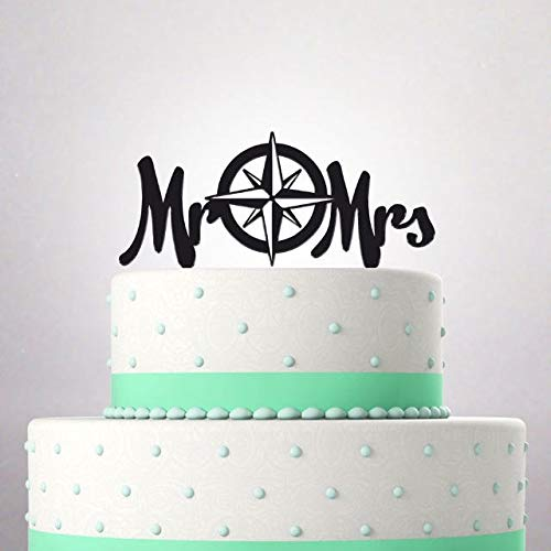 Wedding Cake Topper Mr and Mrs Surname funny young couple compass rose wind tattoo Custom Personalized Date 061