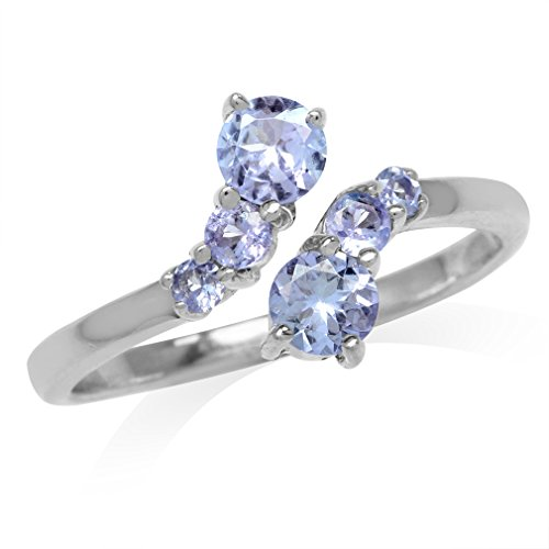 Genuine Tanzanite White Gold Plated 925 Sterling Silver Graduated Bypass Ring Size 7