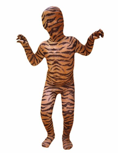 Tiger Ninja Costume - SecondSkin Men's Full Body Spandex/Lycra Suit, Tiger, Kids M