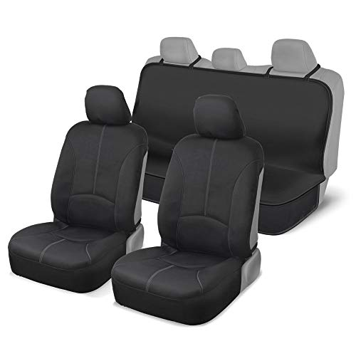 Motor Trend DC210-A2 Grey EasyFit Universal Protective Front & Rear Bench Seat Covers for Auto (Car Sedan SUV Van Truck) - Simple Installation ()