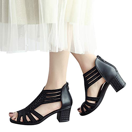 Women's Heeled Sandals Fashion Crystal Hollow Out Peep Toe Wedges Shoes Comfortable Walking Back Zipper Sandal (Black, US:6.5) by Cealu (Image #1)