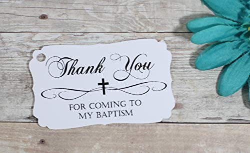 White Baptism Tags - Thank You for Coming to My Baptism (Set of 40)