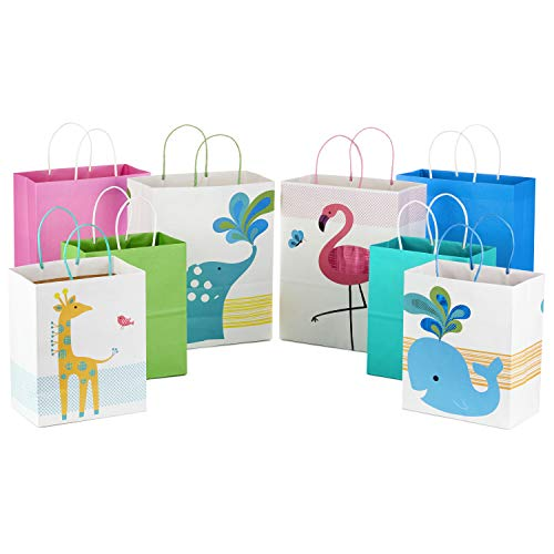 Hallmark Paper Gift Bags Assortment for Kids Birthdays or Baby Showers, Flamingos, Whales, Giraffes (Pack of 8, 4 Medium and Large) -
