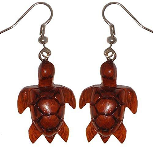 Hawaiian Jewelry Koa Wood Honu Turtle Dangle Pierce Earrings