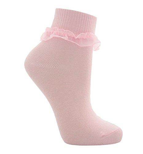 Tick Tock Big Girls' Cottonique Cute Frilly Ruffle Organza Lace School Girls UK 6-8.5 6 Pairs Pink by Tick Tock