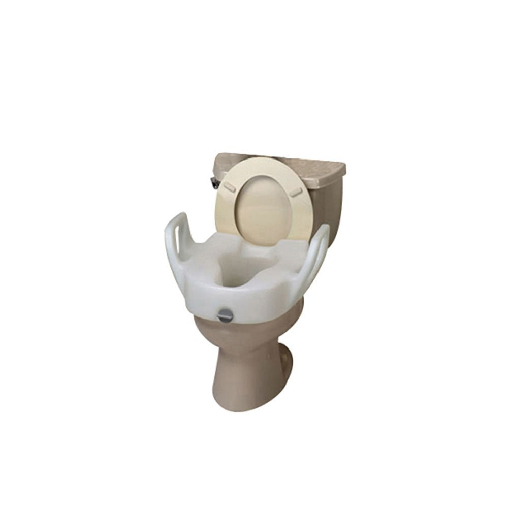 Premium Elevated Toilet Seat with Lock, With Arms, 19'' W between arms
