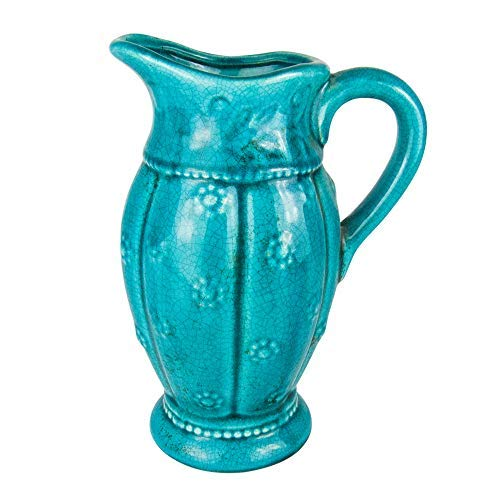 - D'vine Dev Turquoise Decorative Pitcher Country Vintage Ceramic Vase Plum Blossom Design for Farmhouse(10' Inches Tall)