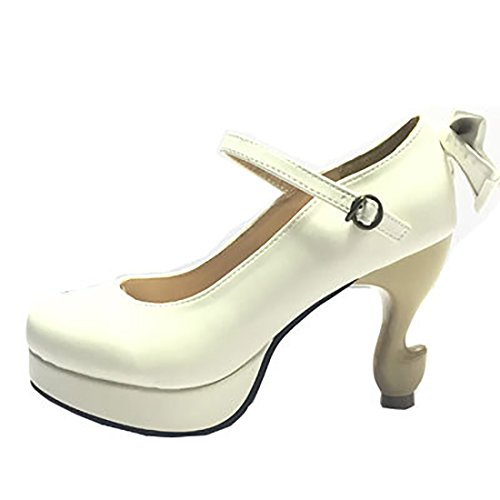 Partiss Damen Suess High-top Pumps Casual Schuhen Lolita Pumps Platform Hochzeit Tanzenball Maskerade Pumps Lolita Shoes 1 White