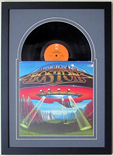 - Record Album LP Frame Display Featuring Grey Matting Juke Box Style Design and a Solid Wood Frame (Black Frame)