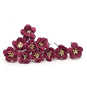 """1"""" Maroon Cherry Blossom Flower Artificial Flowers Paper Flowers Synthetic Flowers Fake Flowers Paper Craft Flowers Mulberry Paper Flowers Wedding, 25 Pieces 19"""